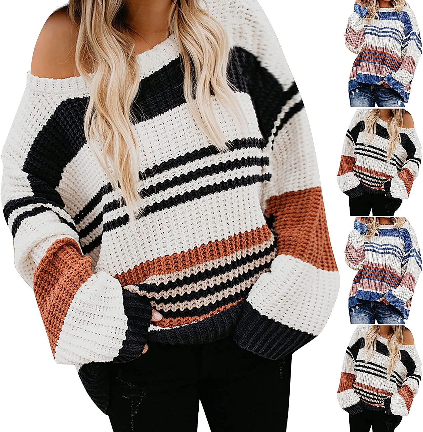 Women's Sweater Long Sleeve O-Neck Striped Color Block Casual Loose Knitted Pullover