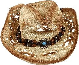 CLISPEED Cowboy Straw Hat Woven Cowgirl Hat Bohemian Beach Hat Sunshade Anti- UV Hat Summer Cap for Beach Camping Travelin...