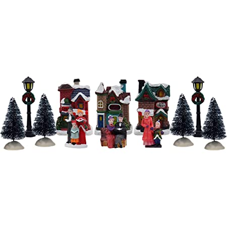 VOSAREA Mini Christmas Village Glowing House Ornament Tabletop Lighting House Resin Crafts Decoration for Home Holiday Xmas Party Kids Gift Living Room Office Bedroom