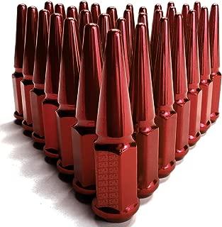 50 Caliber Racing Set of 32 Red Spiked Lug Nuts - 9/16