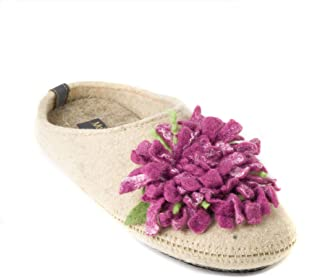 Made For You Women's Wool Slippers with Handmade Chrysanthemum Flower, Non-Slip Rubber Sole and Arch Support Insole
