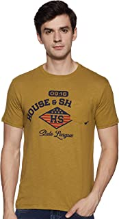 Amazon Brand - House & Shields Men's Printed Regular Fit Half Sleeve Cotton T-Shirt