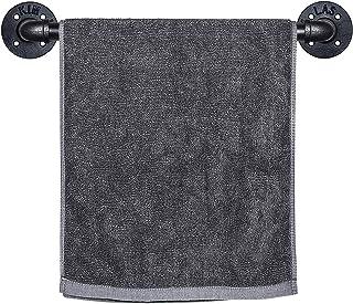 SUNMALL 工業用パイプタオルバー 壁取り付け式ハンドタオルバー 浴室用 素朴なタオルラックホルダー 取り付け金具付き ブラック 15インチ