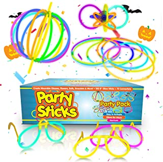 "Party Sticks Glow Sticks Party Favors 100pk - 8"" Neon Glow Sticks with Various Connectors to Make Glow Bracelets, Glasses, Necklaces, and Flowers"
