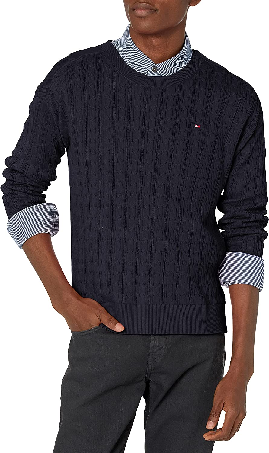 Tommy Hilfiger Men's Adaptive Cable Knit Sweater with Closures at Shoulders
