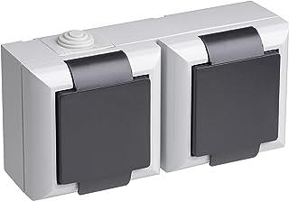 Meister SCHUKO Double Socket-Outlet Aufputz, waagerecht, IP54, Delta, 7417020