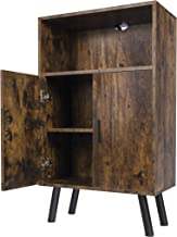Lavievert Retro Bookcase, Bookshelf with Doors, Multipurpose Storage Cabinet, Cupboard with 2 Closed Compartments for Kitc...