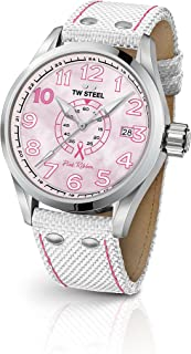TW Steel Volante Stainless Steel Quartz Watch with Nylon Strap, White, 22 (Model: TW972)