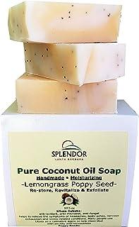 Splendor Lemongrass Poppy Seed Exfoliating Pure Coconut Oil Soap. Handmade, Vegan, Moisturizing, All Natural With Therapeu...