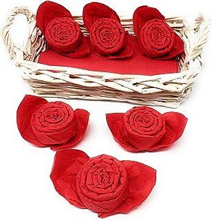 Panier en osier + 6 serviettes de table pliées roses pour la fête des mères, la journée internationale de la femme en cade...