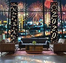 Sayala Cartel de Porche de año Nuevo Banderas Decorativas Colgantes de Puertas Interiores al Aire Libre para decoración de Vacaciones de Fiesta de Nochevieja