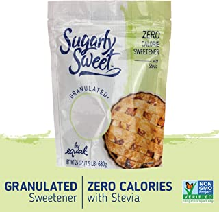 SUGARLY SWEET Zero Calorie Granulated Sweetener with Stevia, Baking Blend, Erythritol Sweetener, Sugar Substitute, Sugar Alternative, 1.5 Pound Bag (24 Ounces)
