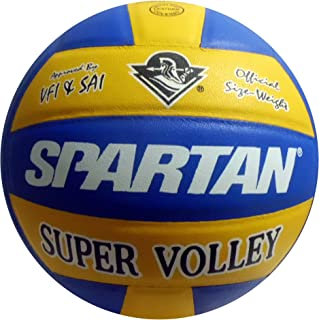 SPARTAN Approved by VFI Super Volley Leather Volleyball - Size 4, Yellow