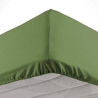 douceur d'intérieur 1642651 Drap Housse 2 Personnes, Coton, Vert Sapin, 160 x 200 cm
