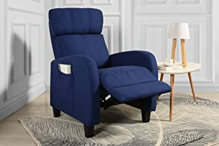 Living Room Slim Manual Recliner Chair (Dark Blue)