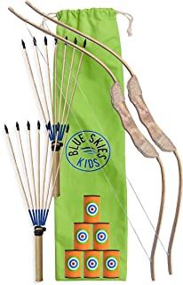Kids Archery Set - Bow, Arrows and Targets - Wooden Hunting Toys for Boys and Girls (Double Set)