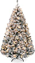 Best Choice Products 7.5ft Pre-Lit Snow Flocked Artificial Holiday Christmas Pine Tree..