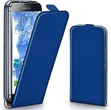 MoEx® Funda abatible + Cierre magnético Compatible con Samsung Galaxy S5 | Piel sintética, Bleu foncé