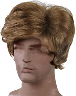 TopWigy Men Wigs Light Brown Layering Wig Short Curly Side Bangs Synthetic Full Wigs for Guy Daily Party Hair
