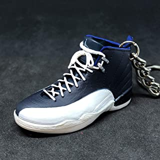 new product ec255 52b64 Air Jordan XII 12 Retro Obsidian French Blue White OG Sneakers Shoes 3D  Keychain 1