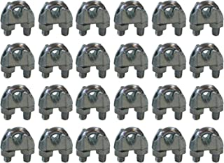 West Coast Wire Rope CPML014 Galvanized Steel 1/4-inch Cable Clamp Clip, 24-Pack