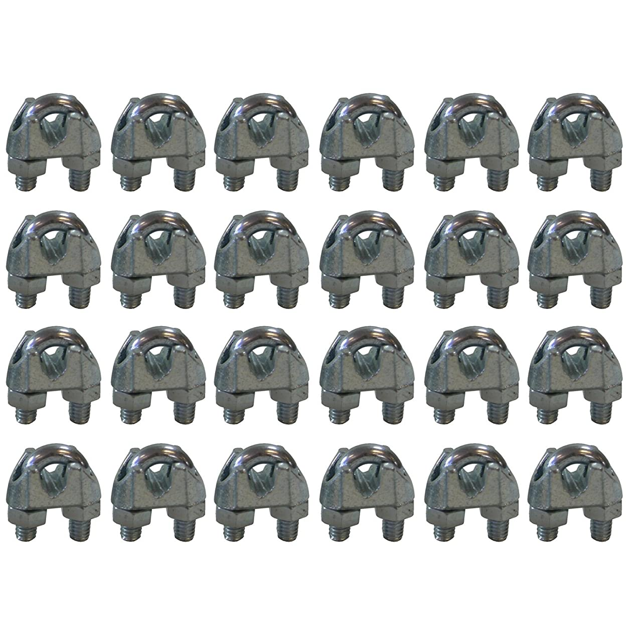 West Coast Wire Rope CPML014 Galvanized Steel 1/4-inch Cable Clamp Clip, 24-Pack vcev813278402