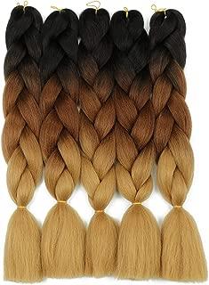 Ombre Braiding Hair Kanekalon Braiding Hair Extensions 24 inches Black-Dark Brown-Light Brown (5Pcs/Lot)