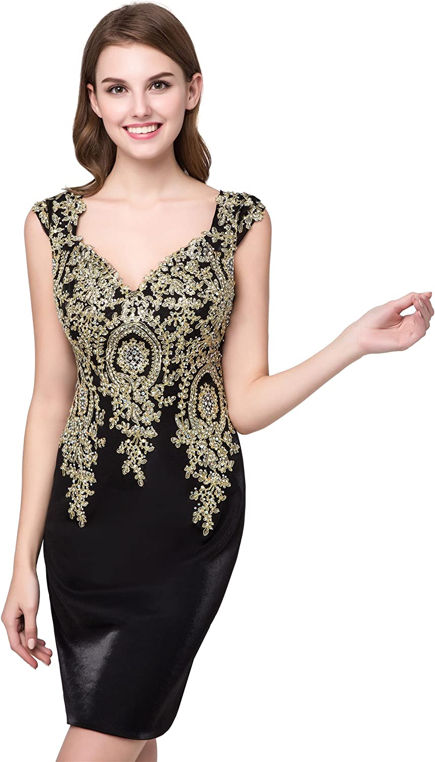 Topashe Women's gold Appliques Lace Beaded Cap Sleeve Short Tight Formal Party Dress