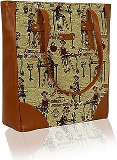 Kleio Jacquard Fabric Shoulder Tote Handbag School College Work Everyday Beach Picnic Grocery For Women Girls Ladies