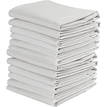 KAF Home Set of 12 White Wrinkled Flour Sack Kitchen/Chef Towels, 100-Percent Cotton, Absorbent, Extra Soft (20 x 30-Inches)