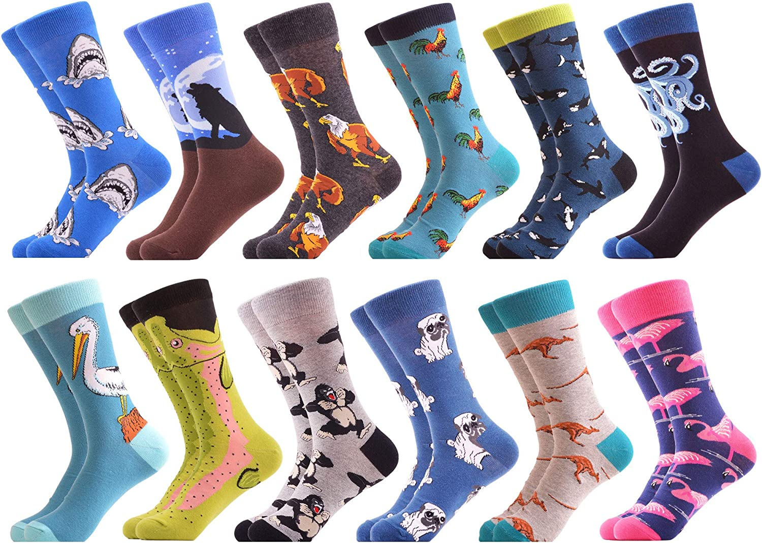 WeciBor Men's Colorful Funny Novelty Casual Combed Cotton Crew Socks Gift