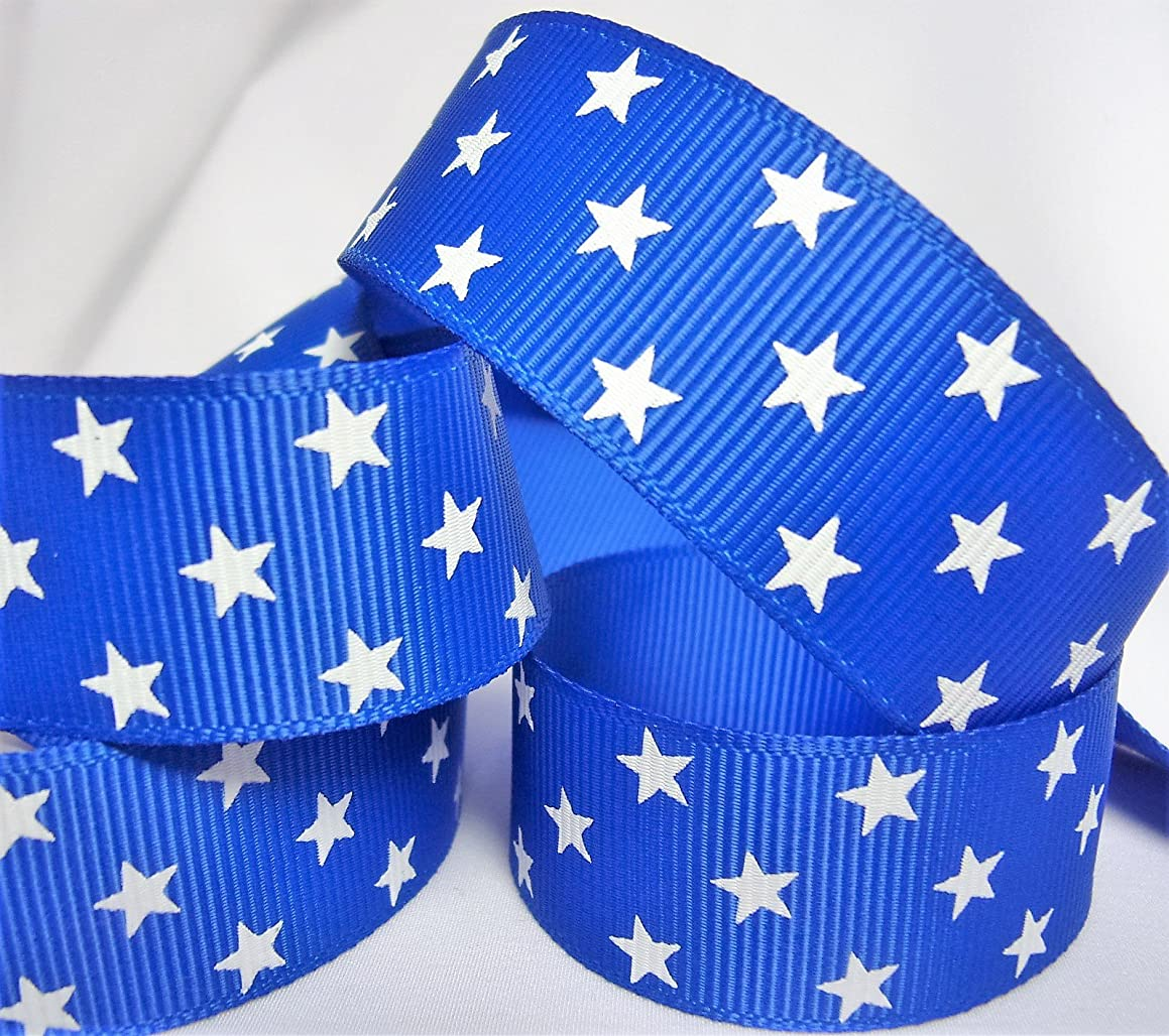 Grosgrain Ribbon - Royal Blue with Stars Print - 7/8