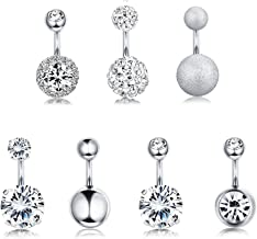 FUNRUN JEWELRY 7PCS 14G 6MM 1/4 Inch 316L Surgical Steel Belly Button Rings Belly Earring CZ Navel Rings Barbell Body Piercing Jewelry