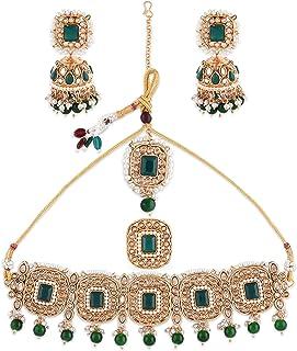 Zaveri Pearls Green Stone & Beads Choker Necklace Earring Maangtikka & Ring Set For Women-ZPFK10814