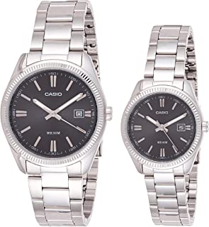 Casio His and Hers Stainless Steel Black Dial Analog Couple Watch Set [MTP/LTP-1302D-1A1V]