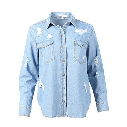 36c4588df Made by Emma MBE Women's Relaxed Long Sleeve Distress Chambray Denim Button  Down Shirt
