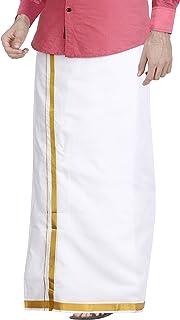 JISB Men's Cotton Double Dhoti With Zari Border 3.6M Free Size (White)