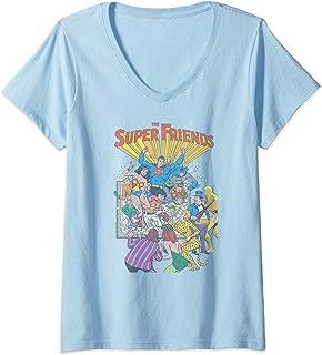 Womens Justice League Super Friends #1 V-Neck T-Shirt