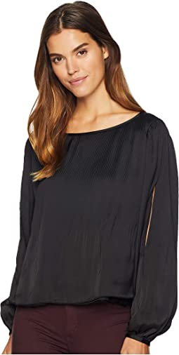 Cold Shoulder Pleated Blouse