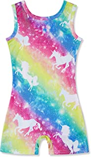 Gymnastics Leotards for Girls with Shorts Biketards Kids One-Piece Sparkly Dance Ballet Unitard 3-7 Years