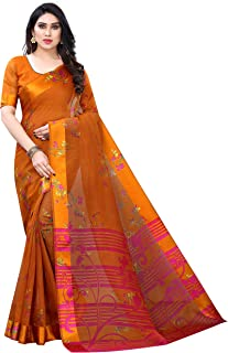 ANY DESIGNER Women's & Girl's Cotton Blend Saree With Blouse Piece