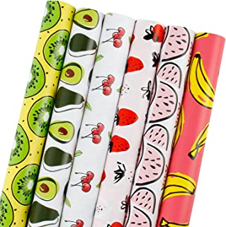 LaRibbons Gift Wrapping Paper Roll - Banana/Watermelon/Strawberry/Cherry/Avocado/Kiwi Fruit Design for Birthday, Holiday, Baby Shower - 6 Rolls - 30 inch X 120 inch Per Roll