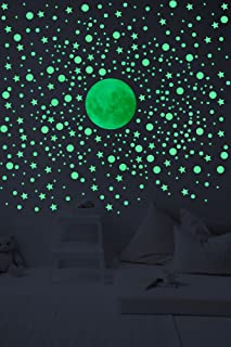 Glow In The Dark Wall Decals - 3D Stars And DotsBonus Moon. Stickers For Home Decor Set of 328 3D Self Adhesive Wall Stick...