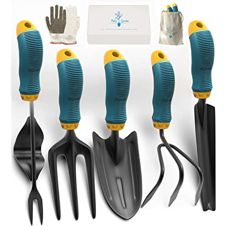 Green Including Garden Scissors,Glove,Trowel Hand Rake with Soft Rubberized Non-Slip Ergonomic Handle,Great as a Gift Box Yartting Garden Tool Set 4 Piece Gardening Tools Set