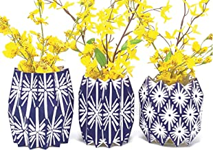 Lucy Grymes Set of 3 Expandable and Collapsible Paper Flower Vases - 7 Patterns Available - Reusable Flower Vase Wraps - Made in USA - Recyclable (Navy)