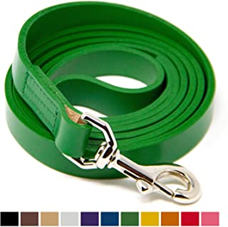 Logical Leather Dog Leash - Best for Training - Water Resistant Heavy Full Grain Leather Lead