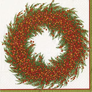 Entertaining with Caspari Berry Wreath Day Paper Luncheon Napkins, Ivory, Pack of 20