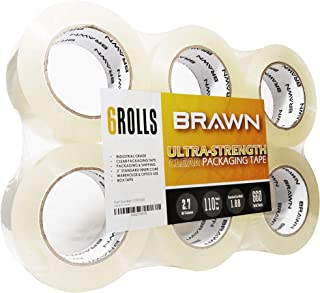 Brawn 2.7 mil Ultra-Strength Clear Packing Tape, 6 Rolls x 110 Yards, 2 inch Wide fit for Packaging, Carton Sealing, and Shipping