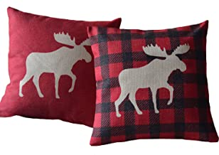 Aeneontrue Pack of 2 Decorative Throw Pillow Covers Cotton Linen Home Decor Sofa Car Cushion Covers Case 18 X 18 Inch (1 X Red Moose, 1 X Check Moose)