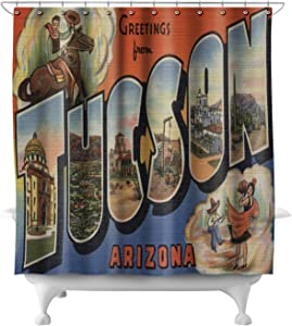 Tucson, Arizona - Large Letter Scenes 8544 (74x74 Polyester Shower Curtain)